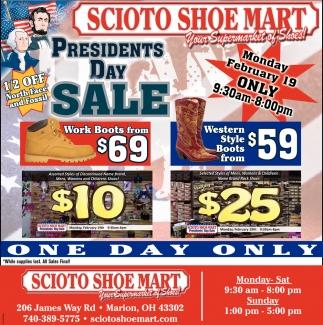 Scioto Shoe Mart Presidents Day Sale