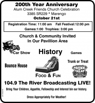 200th year anniversary alum creek friends church marengo