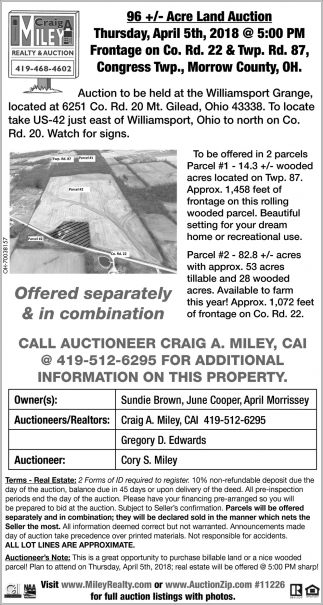 96 +/- Acre Land Auction