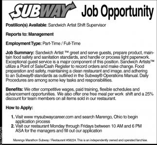 sandwich artist shift supervisor subway marengo marengo oh