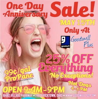 One Day Anniversary Sale!