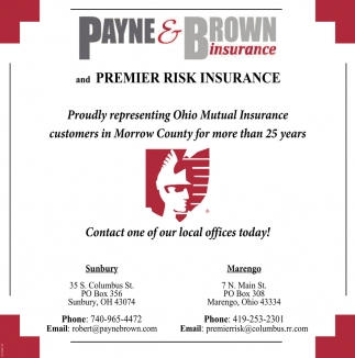 Proudly representing Ohio Mutual Insurance customers on Morrow County for more than 25 years