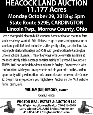 Heacock Land Auction