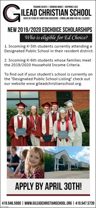 New 2019 / 2020 Edchoice Scholarships