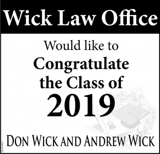 Would like to Congratulate the Class of 2019