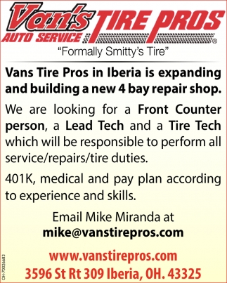 Front Counter person, Lead Tech, Tire Tech