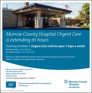 Urgent Care will be open 7 days a week!