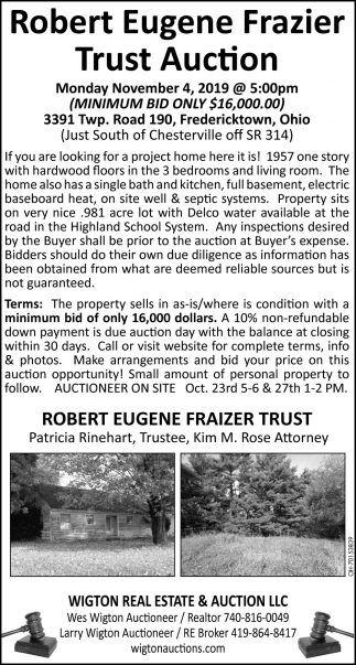 Robert Eugene Frazier Trust Auction - November 4