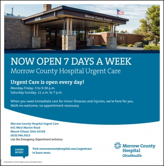 Urgent Care is open everyday!