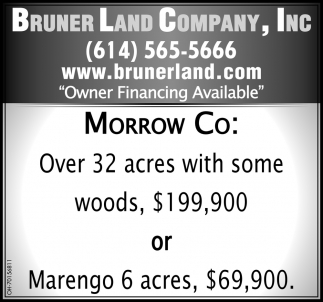 Over 32 acres with some woods, $199,900 or near Marengo 6 acres, $69,900