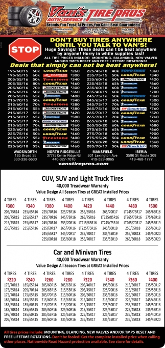 CUV, SUVand Light Truck Tires