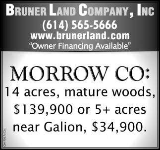 Morrow Co: 14 acres, mature woods, $139,900 or 5 acres near Galion, $34,900