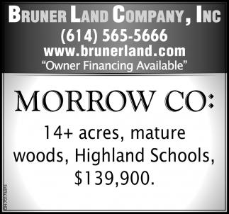 Morrow Co: 14+  acres, mature woods, Highland Schools $139,900