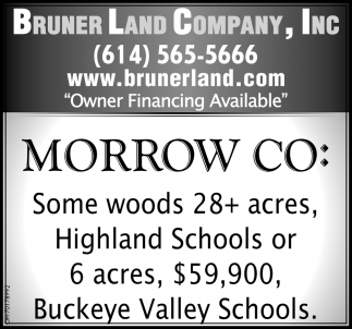 Morrow Co: Some woods 28+ acres, Highland Schools or 6 acres, $59,900, Buckeye Valley Schools